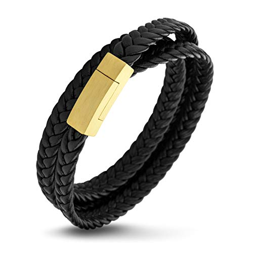 555Jewelry Stainless Steel Braided Double Wrap Leather Twist Rope Chain Cord Adjustable Magnetic Clasp Simple Men Women Unisex Fashion Jewelry Accessory Bangle Bracelet, Black & Yellow Gold 7.5 Inch