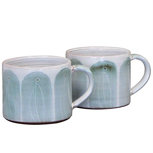 Irish Handmade Pair of Coffee and Tea Mugs by The Bridge Pottery Ireland – Glazed Earthenware Hand Painted Finish (14oz) (Green)