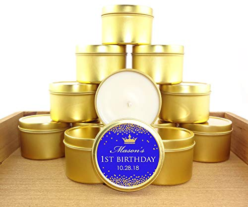 (12 ct Royal Blue and Gold 1st Birthday Favors, 4 oz Personalized tin Candles, Royal Prince Theme First Birthday Favors)