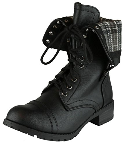 Fold Down Cuff (Cambridge Select Women's Cuff Fold-Over Lace-Up Chunky Stacked Heel Combat Boot,7 B(M) US,Black PU)