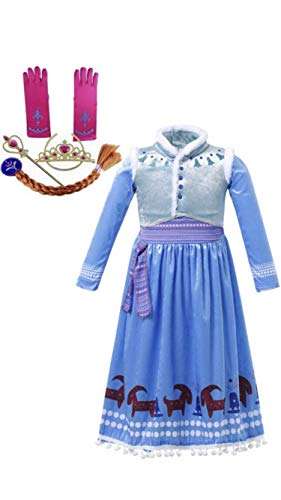 FashionModa4U Frozen Adventure Girls Costume Dress Anna, Tiara, Wand, Braid and Gloves, 4T.