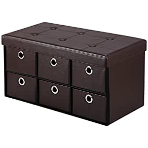 Merveilleux Ollieroo PU Leather Foldable Ottoman Storage Bench Foot Rest Space Saver  With 6 Drawers