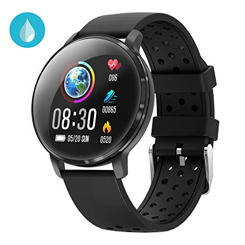 Waterproof Activity Tracker IP68 CatShin CS06 Fit Smart Watch with Heart Rate Monitor Sleep Blood Preasure Fitness Tracker Watch Band Calorie Counter Pedometer for Men Women Kids Android IOS (Halo Swim Training)