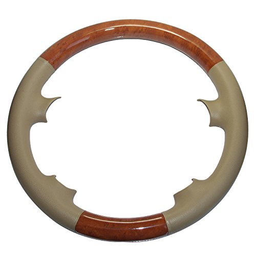 Tan Leather Light Brown Wood Steering Wheel Cover Work with 03-09 Benz W209 CLK CLK280 CLK320 CLK550 02-08 R230 SL SL350 SL500 SL55 AMG 05-10 W219 C219 CLS350 CLS500 06-09 W211 E E200 E320 E500