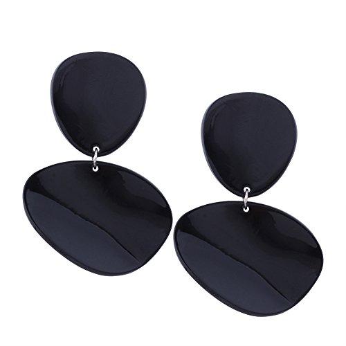 Boucles d'oreilles en résine créative pour femme Design minimaliste personnalisée Résine Géométrie Couture Boucles d'oreilles Black