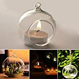 Hanging Glass Candle Holder,Lovewe Crystal Glass Hanging Candle Holder,Candlestick,Home Wedding Party Dinner Decor(6/8/10/12CM) (B)