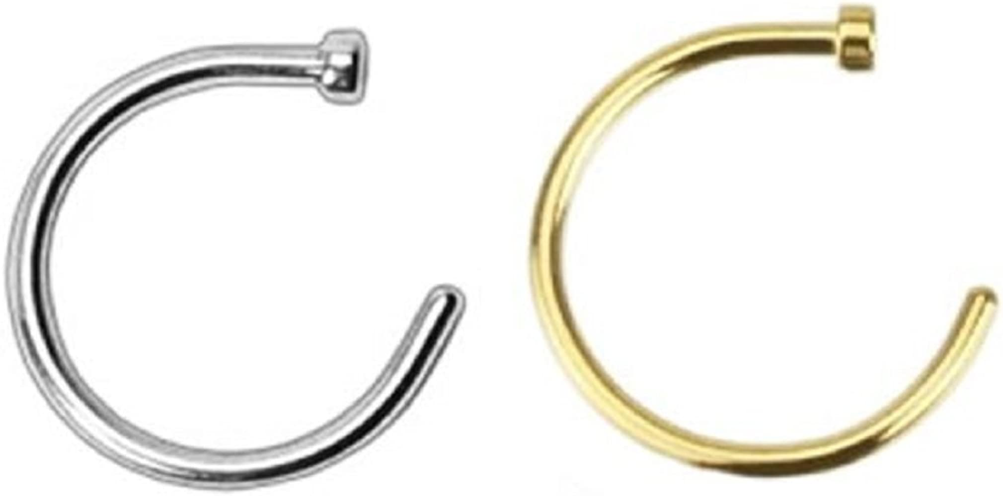 Amazon Com 2pcs 20g Gold Silver Plated Nose Ring Piercing