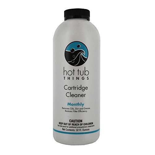 Hot Tub Things Spa Cartridge Cleaner 32 Ounce - Designed for Removal of Oils, Grease and Soaps