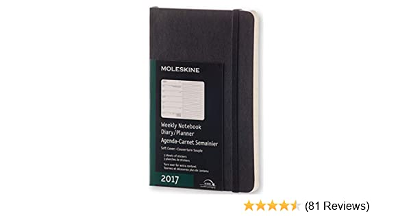 Moleskine 2017 Weekly Notebook, 12M, Pocket, Black, Soft Cover (3.5 x 5.5)