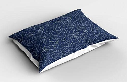 Lunarable Math Pillow Sham, School Themed Equations Division Geometrical Shapes on Dark Toned Backdrop, Decorative Standard Size Printed Pillowcase, 26 X 20 Inches, Violet Blue Beige