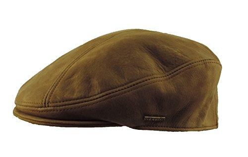 Men's Stetson L/XL Genuine Leather Classic Ivy Newsboy Cap Terra Cotta - Hat Tall English
