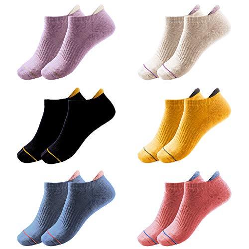 Women's 6 Packs Ankle Socks Low Cut Casual Cotton Socks Soft Athletic Running Socks Assorted Colors Short Socks