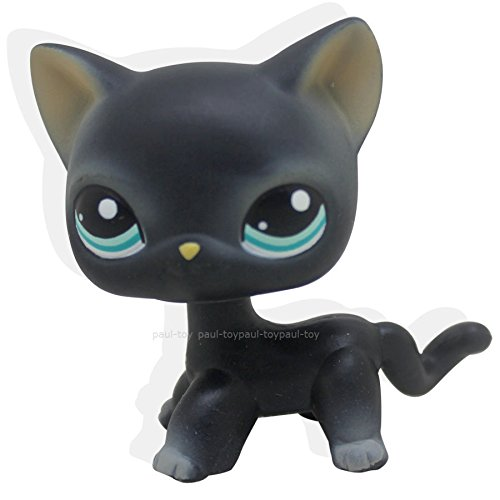 LHJ #994 Littlest Pet Shop Black Short Hair Cat Kitty Blue Eyes Toy LPS - With White Cat Purple Eyes