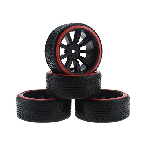 HobbyMarking 4Pcs RC On-Road Car 1/10 Tires Hard Tyre and Wheel Rims for RC HSP Tamiya HPI Kyosho Traxxas Drifting Car (Red) (Best Rims For Drifting)