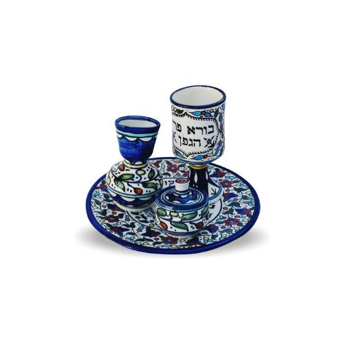 22cm four piece Havdallah set painted in blue