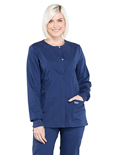 Cherokee Professionals Workwear Women's Snap Front Warm-Up Solid Scrub Jacket Small Navy