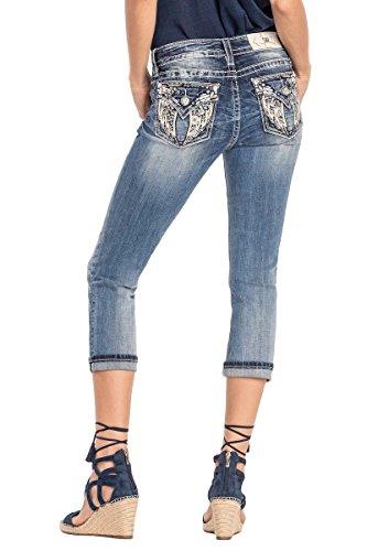 Miss Me Flap Pocket Jeans - Miss Me Fly Free Floral Angel Wings Capri Jeans Medium Wash M3123P 34