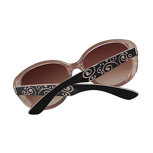 sol de sol Gafas Gafas sol Lente negro de borde Impresión Protección Gafas UV de de de Marco la Gafas cristal con retro las de Marrón flor condu para PC señora clásica la irrompible mujeres para de la sol de 5E5qgR64