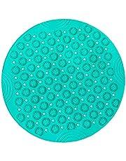 Ronde badmat, antislip badmatten met afvoeropeningen PVC-douchemat (diameter: 55 cm, groen)