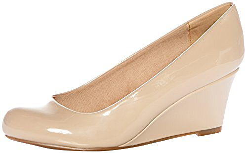 Forever Link Women's DORIS-22 Patent Round Toe Wedge Pumps,6.5 B(M) US,Beige (7) ()