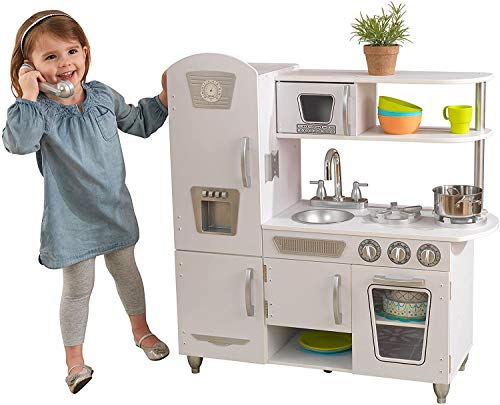 KidKraft Vintage Wooden Play Kitchen with Pretend Ice Maker and Play Phone, White ,Gift for Ages 3+
