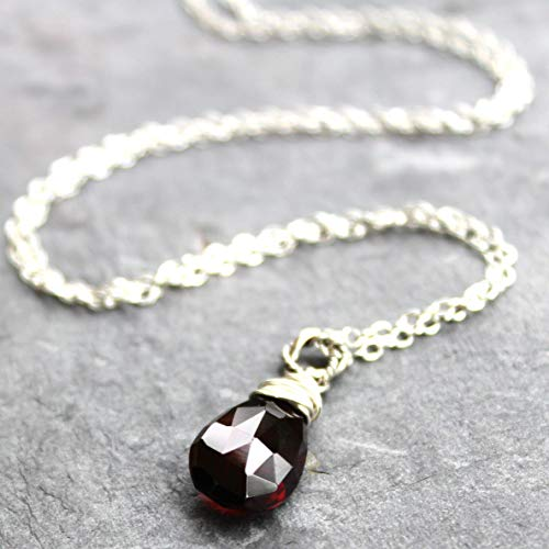 (Petite Garnet Necklace Sterling Silver Pendant Faceted January Birthstone Dark Red, 18 Inch)