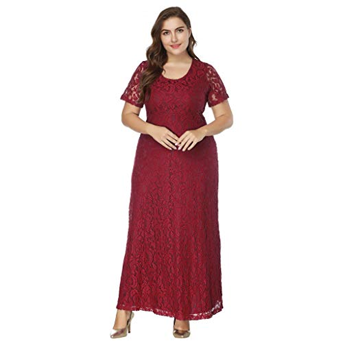 Keliay Bargain Women Solid Oversize Vintage Floral Lace Plus Size Cocktail Formal Swing Dress (Johnny Formal Dress)