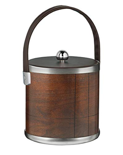 Kraftware American Artisan Collection Ice Bucket, Walnut with Brown Leatherette Handle - 3 Quart (Renewed) ()