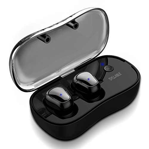 Syllable True Wireless Bluetooth Headphones, in-Ear Sport Running Earbuds with Microphone and Charging Box HiFi Sound Sweatproof for Android Apple iPhone (D900P) (Black) by Syllable