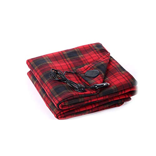 (DDSKY Car Heated Throw Blanket, Super Soft Electric Heated Travel Blanket for 12V Car Vehicle Truck SUV, Red)