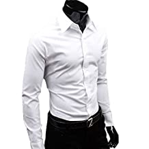 Men's Slim Fit Cotton Point Collar Solid Dress Shirt