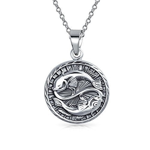 Bling Jewelry Large Pisces Zodiac Medallion Pendant Sterling Silver Necklace 18 - Zodiac Large Pendant