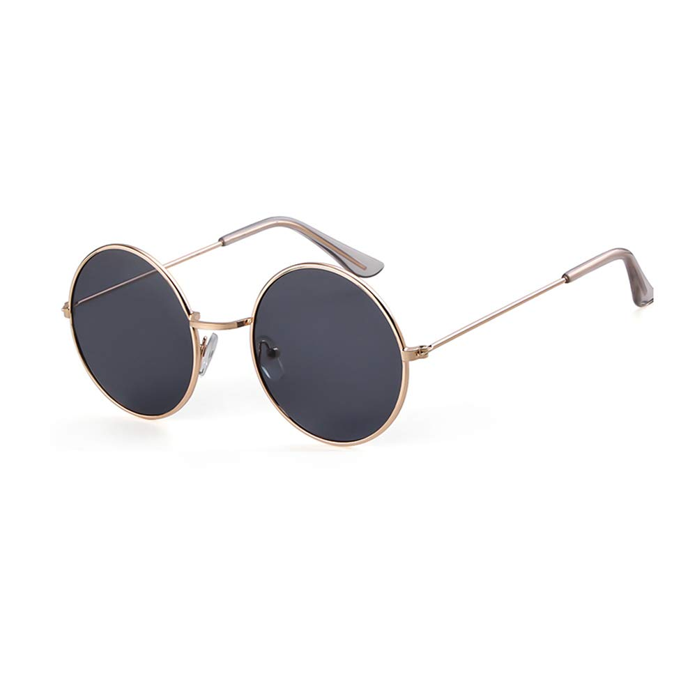 Cgold Frame Grey Lens Round Retro Sunglasses Men Women Steampunk Style Circle Sun Glasses