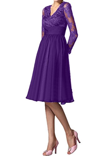 Festkleid Aermel Mit Mutterkleid Kurz Partykleid Ivydressing Ausschnitt Abendkleid Damen Spitze Fashion Violett V q4nxtAvHw