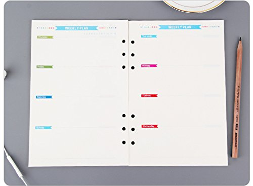 8.5 inch Plastic A5 6-Holes Cover Round Ring View Binder File Folder for Loose Leaf Sheet Protectors/Notebook Refill/DIY Scrapbooking/Binder Cover Protector (Paper Refill- Weekly Planner)