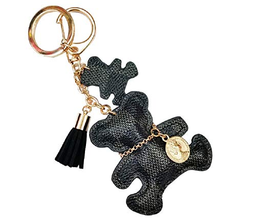 Black Bear Keychain - TOKO Leather Bear Keychains Bear Keyrings For Women Girls - Black