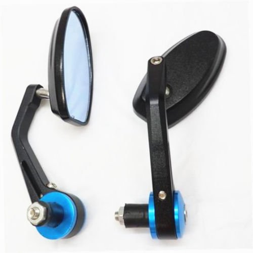 DLLL Blue Flexible Motorcycle Rear View Back Mirror Handle Bar End 7/8