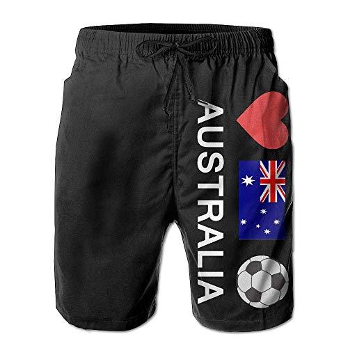 Australia Football Australian Soccer Mens Summer Beach Shorts Household Pants with Pockets ()