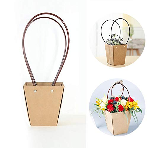 (Flower Bouquet Gift Bags, 10PCS Kraft Paper Rose Packaging Bags with Handle Suitable for Wedding Flowers Bouquets Florist Shop Use (Vintage))