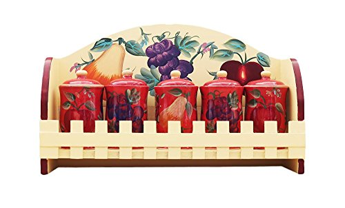 Tuscany Hand Painted Rosy Red Orchard Collection By ACK (5pc Spice Jars with Rack) - Hand Painted Jar