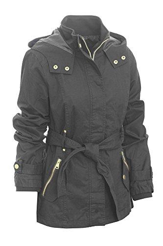 Miss London Ladies Juniors Womans Cotton Long Lightweight Anorak Jacket with Hood & Drawstring Coat and Belt -