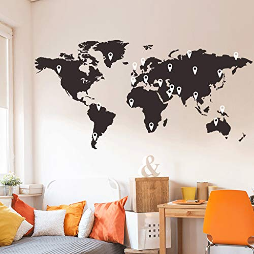 Travel The World Map Wall Decals, Removable DIY Flower Vines Art Decor Wall Stickers Murals for Living Room TV Background Kids Gilrs Rooms Bedroom Decoration By JDgoods