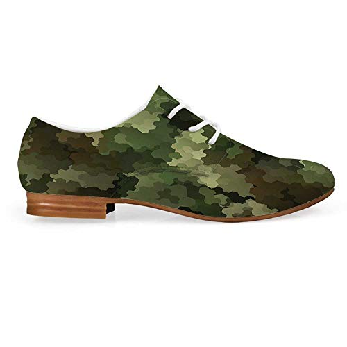 Camo Leather Oxfords Lace Up Shoes,Frosted Glass Effect Hexagonal Abstract Being Invisible Woodland Army Bootie for Girls ladis Womens,US 7