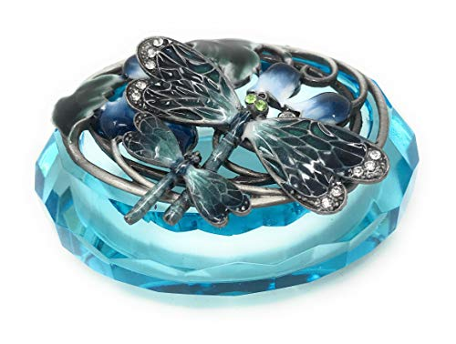 Kubla Crafts Enameled Blue Dragonflies on Oval Cut Glass Trinket Box, Accented with Austrian Crystals, 3.25 Inches Long - Cut Glass Trinket