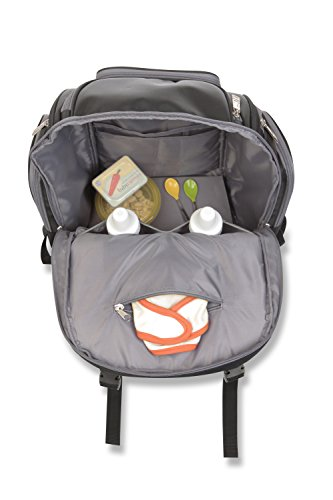 Jeep Perfect Pockets Baby Diaper Bag Backpack - Small Bag with 12 Roomy Pockets for the Ultimate Organizer - Includes Wipe Holder and Wipeable Changing Pad - Black and Grey