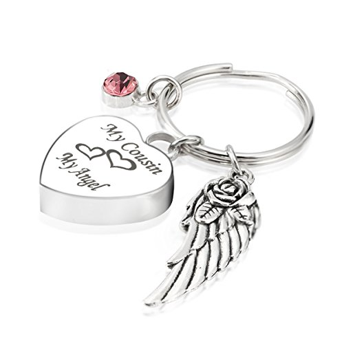 Engraved Personalised My Cousin My Angel Cremation Urn Jewelry Keychain Memorial Ash Keepsake October Tourmaline Birthstone Angel Wings Charms Pendant (Angel Engraved Keychain)