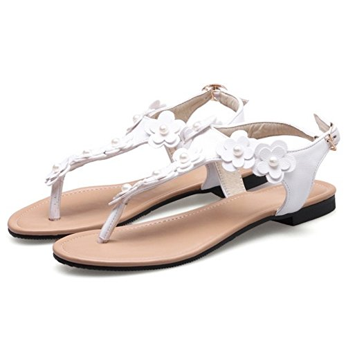 COOLCEPT Damen Mode KnochelRiemchen Riemchen Sandalen Flach Flip Toe Slingback Schuhe Mit Blume Gr White