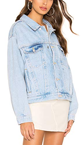 Tsher Women's Oversize Vintage Washed Denim Jacket Long Sleeve Classic Loose Jean Trucker Jacket D003 (S, Pale Blue Washed)