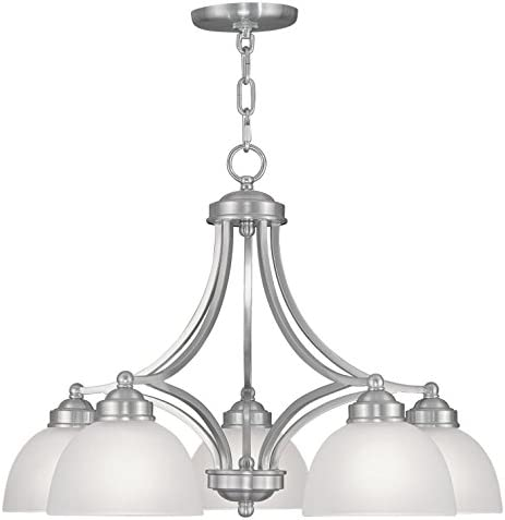 Chandeliers 5 Light With Satin Steel Drum Brushed Nickel size 25 in 500 Watts – World of Crystal