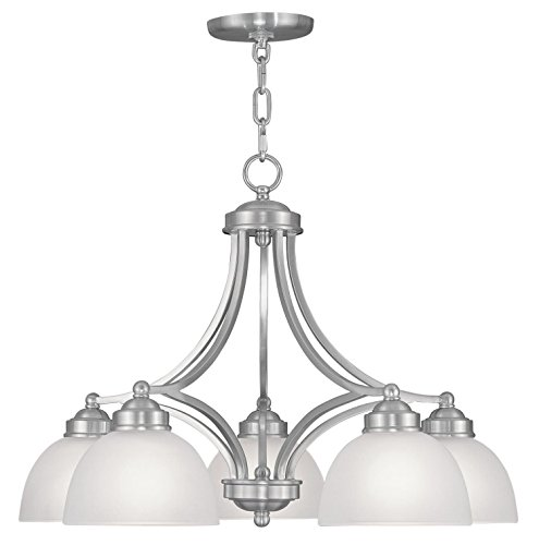 Chandeliers 5 Light With Satin Steel Drum Brushed Nickel size 25 in 500 Watts – World of Crystal Review
